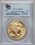 Modern Bullion Coins, 2011 $50 One-Ounce Gold Buffalo, First Strike MS70 PCGS. .9999Fine. PCGS Population (2861). NGC Census: (4996).. FromTh...