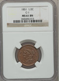 Half Cents: , 1851 1/2 C MS61 Brown NGC. C-1. NGC Census: (54/304). PCGSPopulation (14/182). Mintage: 147,672. Numismedia Wsl. Price fo...
