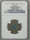Half Cents: , 1833 1/2 C Brown -- Altered Color -- NGC Details. UNC. C-1. NGCCensus: (0/285). PCGS Population (4/199). Mintage: 120,000...
