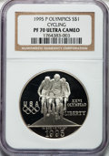 Modern Issues: , 1995-P $1 Olympic/Cycling Silver Dollar PR70 Ultra Cameo NGC. NGCCensus: (22). PCGS Population (37). Numismedia Wsl. Pric...
