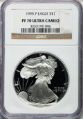 Modern Bullion Coins: , 1995-P $1 Silver Eagle PR70 Ultra Cameo NGC. NGC Census: (839).PCGS Population (519). Numismedia Wsl. Price for problem f...
