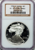 Modern Bullion Coins: , 1992-S $1 Silver Eagle PR70 Ultra Cameo NGC. NGC Census: (765).PCGS Population (479). Mintage: 498,654. Numismedia Wsl. Pr...