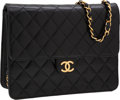 Luxury Accessories:Bags, Chanel Black Lambskin Leather Convertible Classic Single FlapClutch Bag with Shoulder Strap. ...