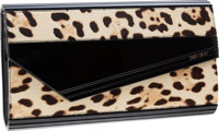 Jimmy Choo Large Lucite & Leopard Ponyhair Candy Clutch with Shoulder Strap