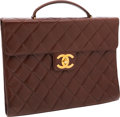 Luxury Accessories:Bags, Chanel Brown Quilted Lambskin Leather Briefcase. ...