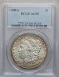 Morgan Dollars: , 1900-S $1 AU55 PCGS. PCGS Population (158/4551). NGC Census:(179/2795). Mintage: 3,540,000. Numismedia Wsl. Price for prob...
