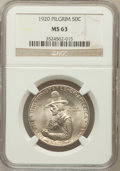 Commemorative Silver: , 1920 50C Pilgrim MS63 NGC. NGC Census: (686/3293). PCGS Population(1457/3351). Mintage: 152,112. Numismedia Wsl. Price for...