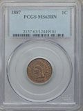 Indian Cents: , 1887 1C MS63 Brown PCGS. PCGS Population (57/41). NGC Census:(44/101). Mintage: 45,226,484. Numismedia Wsl. Price for prob...