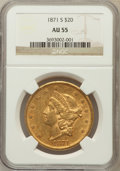 Liberty Double Eagles: , 1871-S $20 AU55 NGC. NGC Census: (340/542). PCGS Population(105/135). Mintage: 928,000. Numismedia Wsl. Price for problem ...