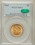 Liberty Half Eagles: , 1905 $5 MS64 PCGS. CAC. PCGS Population (140/55). NGC Census:(267/56). Mintage: 302,200. Numismedia Wsl. Price for problem...