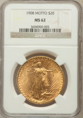 Saint-Gaudens Double Eagles: , 1908 $20 Motto MS62 NGC. NGC Census: (755/718). PCGS Population(589/1269). Mintage: 156,200. Numismedia Wsl. Price for pro...