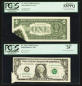 Error Notes:Foldovers, Fr. 1915-E $1 1988A Federal Reserve Note. PCGS About New 53PPQ;.Fr. 1921-A $1 1995 Federal Reserve Note. PCGS Very Fine 25....(Total: 2 notes)