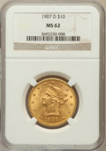 Liberty Eagles: , 1907-D $10 MS62 NGC. NGC Census: (55/19). PCGS Population(191/169). Mintage: 1,030,000. Numismedia Wsl. Price for problem...