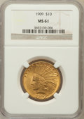Indian Eagles: , 1909 $10 MS61 NGC. NGC Census: (592/750). PCGS Population(233/962). Mintage: 184,700. Numismedia Wsl. Price for problemfr...