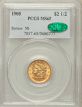Liberty Quarter Eagles: , 1905 $2 1/2 MS65 PCGS. CAC. PCGS Population (632/308). NGC Census:(632/483). Mintage: 217,800. Numismedia Wsl. Price for p...