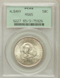 Commemorative Silver: , 1936 50C Albany MS65 PCGS. PCGS Population (1452/892). NGC Census:(1157/654). Mintage: 17,671. Numismedia Wsl. Price for p...