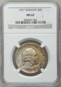Commemorative Silver: , 1927 50C Vermont MS62 NGC. NGC Census: (154/2714). PCGS Population(258/3725). Mintage: 28,142. Numismedia Wsl. Price for p...