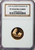Modern Issues: , 1993-W G$5 Bill of Rights Gold Five Dollar PR70 Ultra Cameo NGC.NGC Census: (1206). PCGS Population (247). Mintage: 78,651...