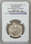 Commemorative Silver: , 1926 50C Oregon -- Rev Improperly Cleaned -- NGC Details. UNC. NGCCensus: (1/1968). PCGS Population (4/2975). Mintage: 47,...