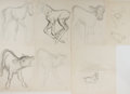 Art:Illustration Art - Mainstream, Garth Williams, illustrator. Seven Original Preliminary PencilSketches for Characters in Baby Farm Animals. Thi... (Total:7 Items)
