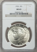 Peace Dollars: , 1925 $1 MS65 NGC. NGC Census: (10022/1782). PCGS Population(6879/1550). Mintage: 10,198,000. Numismedia Wsl. Price for pro...