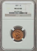 Indian Cents: , 1897 1C MS65 Red NGC. NGC Census: (27/11). PCGS Population (54/15).Mintage: 50,466,328. Numismedia Wsl. Price for problem ...