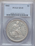 Seated Dollars: , 1842 $1 XF45 PCGS. PCGS Population (125/291). NGC Census: (69/320).Mintage: 184,618. Numismedia Wsl. Price for problem fre...