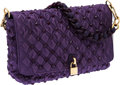 Luxury Accessories:Bags, Marc Jacobs Purple Satin & Pyramid Grommet Beat Bag. ...