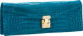 Luxury Accessories:Bags, Lana Marks Turquoise Alligator Concord Clutch Bag with ShoulderStrap. ...
