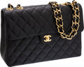 Luxury Accessories:Bags, Chanel Black Caviar Leather Jumbo Single Flap Bag with GoldHardware. ...
