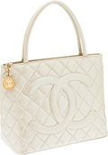 Luxury Accessories:Bags, Chanel Champagne Pealescent Medallion Tote Bag. ...