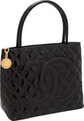 Luxury Accessories:Bags, Chanel Black Patent Leather Medallion Tote Bag. ...