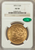 Liberty Double Eagles: , 1876-S $20 AU58 NGC. CAC. NGC Census: (2186/1731). PCGS Population(688/1406). Mintage: 1,597,000. Numismedia Wsl. Price fo...