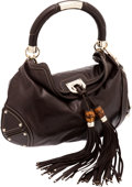 Luxury Accessories:Bags, Gucci Brown Leather Indy Hobo Bag with Bamboo Tassel. ...