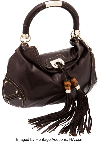14bdeb7fd78 Gucci Brown Leather Indy Hobo Bag with Bamboo Tassel. ... Luxury ...