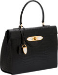 Luxury Accessories:Bags, Lalique Paris Shiny Black Crocodile Top Handle Bag with GlassAccents. ...