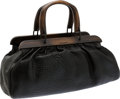 Luxury Accessories:Bags, Gucci by Tom Ford Black Leather Doctor Bag with Wooden Trim &Handles. ...
