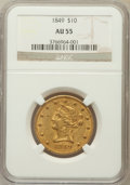 Liberty Eagles: , 1849 $10 AU55 NGC. NGC Census: (135/137). PCGS Population (30/48).Mintage: 653,618. Numismedia Wsl. Price for problem free...