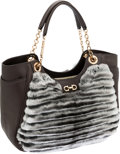 Luxury Accessories:Bags, Salvatore Ferragamo Taupe Lambskin Leather & Chinchilla ToteBag. ...