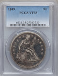 Seated Dollars: , 1849 $1 VF35 PCGS. PCGS Population (14/310). NGC Census: (2/245).Mintage: 62,600. Numismedia Wsl. Price for problem free N...