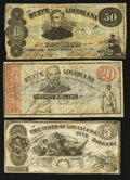 Obsoletes By State:Louisiana, Baton Rouge, LA - State of Louisiana $5 Oct. 10, 1862;. Shreveport, LA - State of Louisiana $20 Mar. 10, 1863 and $50 Ma... (Total: 3 notes)