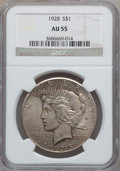 Peace Dollars: , 1928 $1 AU55 NGC. NGC Census: (363/5149). PCGS Population(510/6867). Mintage: 360,649. Numismedia Wsl. Price for problemf...