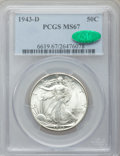 Walking Liberty Half Dollars: , 1943-D 50C MS67 PCGS. CAC. PCGS Population (257/2). NGC Census:(301/4). Mintage: 11,346,000. Numismedia Wsl. Price for pro...