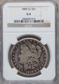 Morgan Dollars: , 1889-CC $1 Good 4 NGC. NGC Census: (78/3460). PCGS Population(123/5282). Mintage: 350,000. Numismedia Wsl. Price for probl...