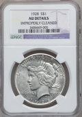 Peace Dollars: , 1928 $1 -- Improperly Cleaned -- NGC Details. AU. NGC Census:(81/5630). PCGS Population (166/7549). Mintage: 360,649. Numi...