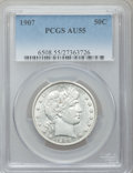Barber Half Dollars: , 1907 50C AU55 PCGS. PCGS Population (26/260). NGC Census: (10/218).Mintage: 2,598,575. Numismedia Wsl. Price for problem f...