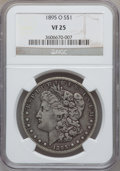 Morgan Dollars: , 1895-O $1 VF25 NGC. NGC Census: (125/3554). PCGS Population(185/3757). Mintage: 450,000. Numismedia Wsl. Price for problem...