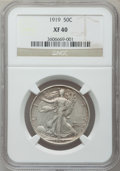 Walking Liberty Half Dollars: , 1919 50C XF40 NGC. NGC Census: (15/330). PCGS Population (31/436).Mintage: 962,000. Numismedia Wsl. Price for problem free...