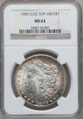 Morgan Dollars, 1900-O/CC $1 MS63 NGC. Top-100. NGC Census: (714/988). PCGSPopulation (1541/2615). Numismedia Wsl. Price for problem free...