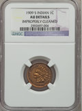 Indian Cents: , 1909-S 1C -- Improperly Cleaned -- NGC Details. AU. NGC Census:(44/453). PCGS Population (106/465). Mintage: 309,000. Numi...